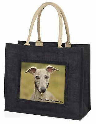 Whippet Hund' liebe Dich Oma' große schwarze Einkaufstasche