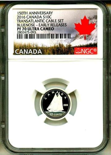 2016 S10c Canada 150th Ann Transatlantic Cable Set Bluenose ER NGC PF70 UC