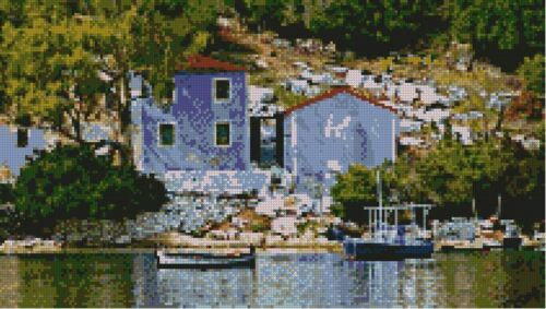 "Greek Harbour Scene Counted Cross stitch Kit 15/"" x 8.5/"" 38cm x 21.5cm Free P/&P"