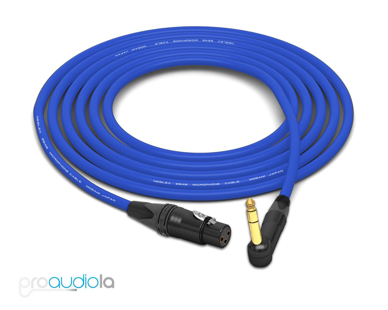 Mogami 2549 Cable   Neutrik Gold XLR-Female to 90º TRS   Blau 40 Feet 40 ft.