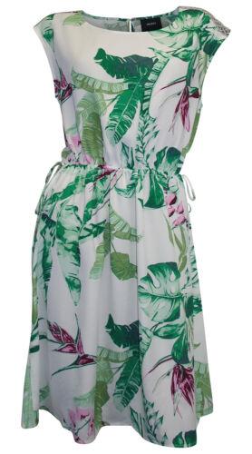 OBJECT Kleid Blumen Blätter Print 36 38 40 weiß bunt Viskose Druckkleid