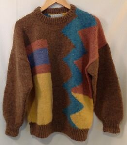 Vintage Cottage Craft Multi Color Hand Knit Crew Neck Wool Sweater
