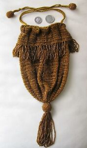 Antique Crochet Amber Root Beer Glass Bead Ball Tassel Top Fringe Flapper Purse Antiques Periods & Styles