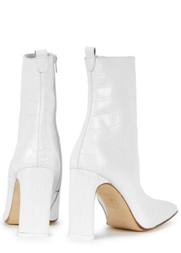 NEW Miista Marcelle White Croc Leather Boots US 6.5 EU 37 $435