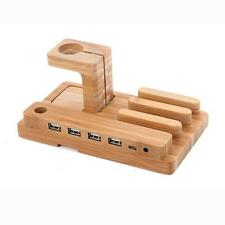 3in1 Bamboo Charging Dock Charger Stand Holder 4usb For Apple Watch iPhone/iPad