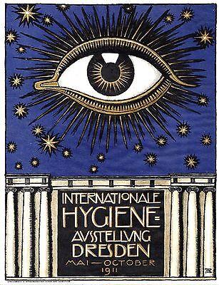 Original vintage poster HYGIENE EXPO DRESDEN 1911 Von Stuck
