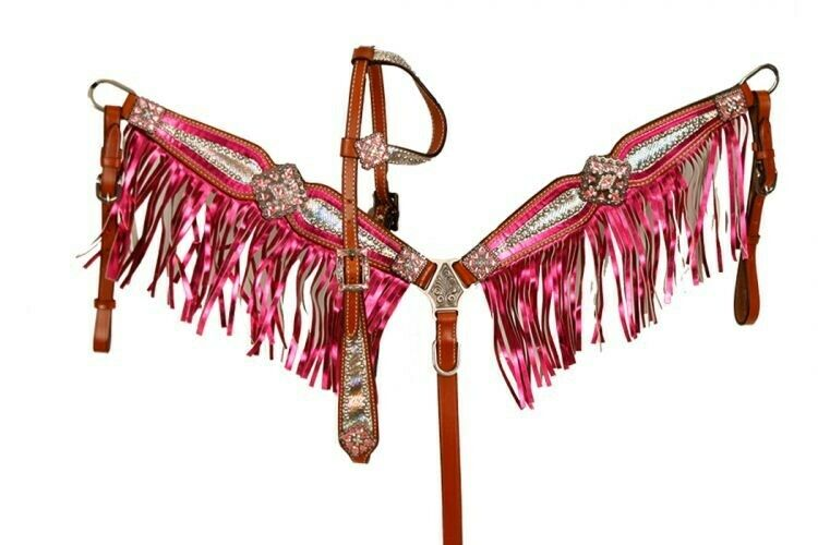 Showman PINK Bejeweled Metallic Leather  Bridle & Breast Collar Set w  Fringe NEW  low 40% price