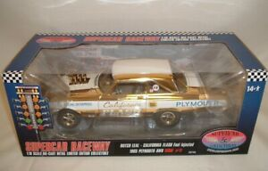 1965 AWB PLYMOUTH 1/18 BUTCH LEAL CALIFORNIA FLASH INJ. BELVEDERE GOLD PLATED!!