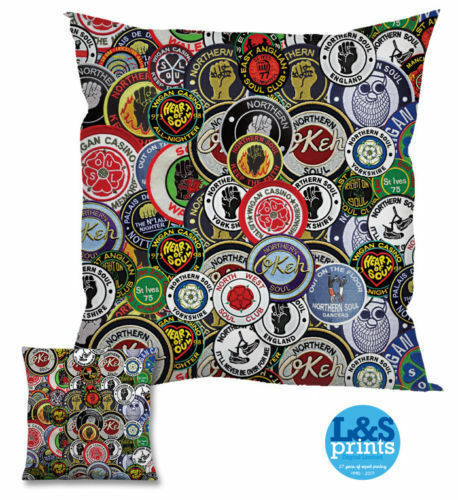 """Colourful Northern Soul Patches Design 18 x 18 /"""" Cushion Great Gift Idea"""