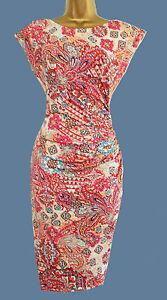 e0530ecb5426 new wallis orange blue tan print vtg bodycon wiggle dress 8 10 12 14 ...
