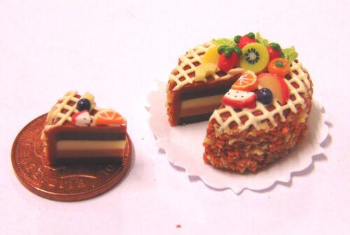 1:12 scala a fette Layer torta al cioccolato Casa delle Bambole Accessorio ALIMENTARE DA CUCINA SC4