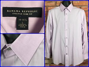 Banana-Republic-Stretch-Pink-L-S-Btn-Front-2-Ply-Dress-Shirt-Mens-Lg-SLIM-MODERN