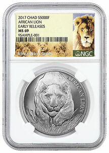 2017-Republic-of-Chad-5000-Francs-1-oz-Silver-African-Lion-NGC-MS69-ER-SKU43312