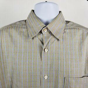 Ermenegildo-Zegna-Mens-Blue-Brown-Check-L-S-Dress-Button-Shirt-Sz-Large-L