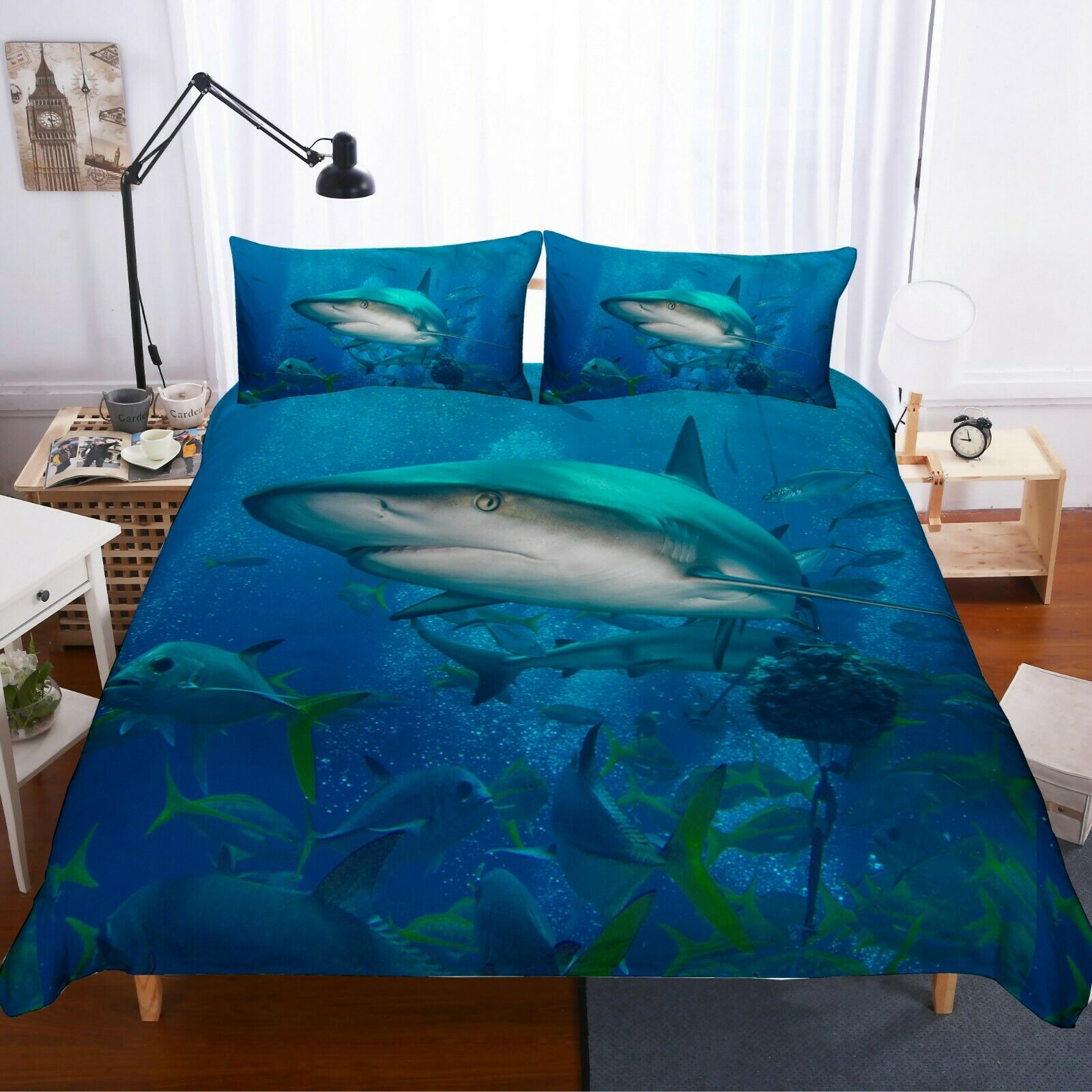3D bluee Sharks Quilt Cover Set Bedding Duvet Cover Single Queen King 3pcs 20
