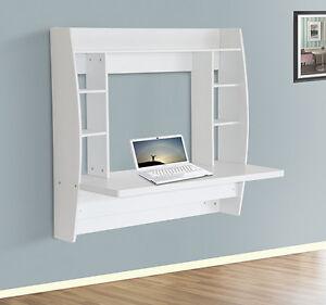 Floating Computer Desk homcom floating wall mount office computer desk storage white | ebay