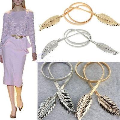 Women Metal Leaves Elastic Stretch Waist Belt Strap Cummerbund Waistband Fashion