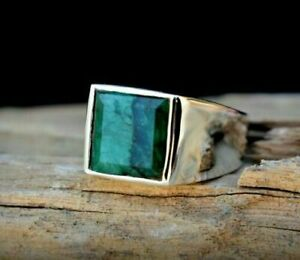 Square-Faceted-Natural-Emerald-925-Sterling-Silver-Men-039-s-Ring