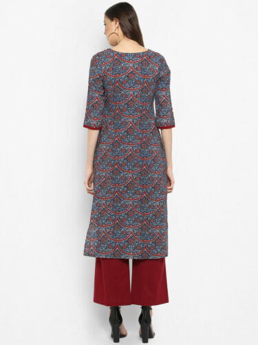 Details about  /Women Cotton Multicolored Abstract Printed Straight Kurta Daily Casual Wear