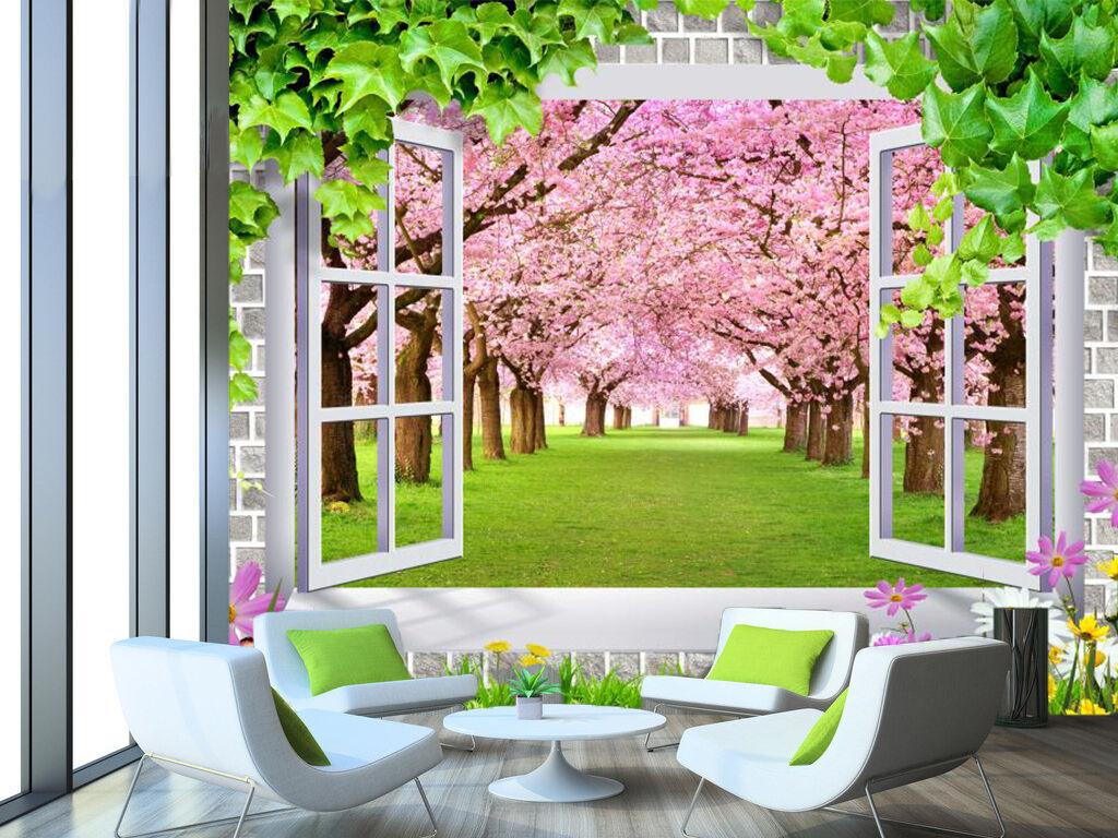 3D Pfirsichbäume , Wiesen 32 Fototapeten Wandbild Fototapete BildTapete Familie