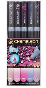 Chameleon-tonos-de-color-5-Juego-Boligrafo-alcohol-mezcla-tonos-de-color-gradiente-Floral