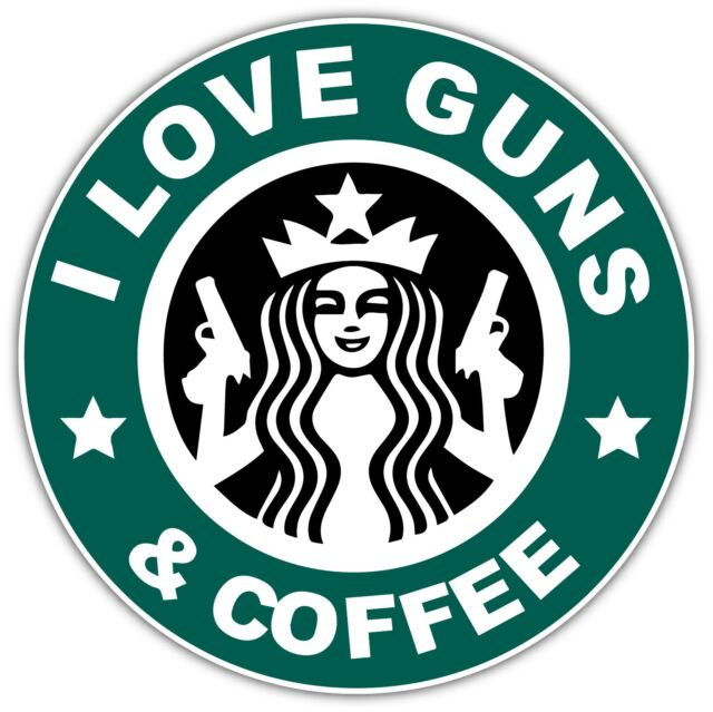"""2x Guns And Coffee STICKER 4/"""" Government Tactical Military Funny Gun Right Decal"""