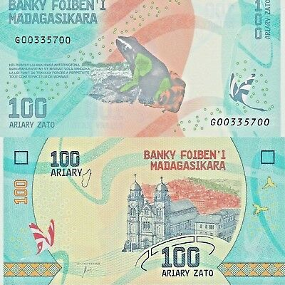 Madagascar 100 Ariary x 5 Pcs 2017 P-New Frog Colorful Unc