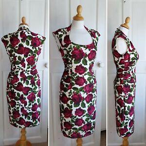 Phase Tapestry 12 Eight Rose Karenina Dress Stretch Wiggle Bodycon Flattering E6EqrSw
