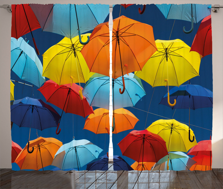 Fabric Curtains Coloreeful Umbrellas Sky Window Drapes 2 Panel Set 108x84 Inches