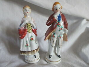 2 Porcelain Figurines Made In Occupied Japan Colonial Man And Woman Ebay