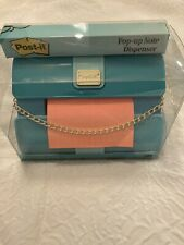 Post It Pop Up Notes Fashion Dispenser Teal Purse With Chain New In Box