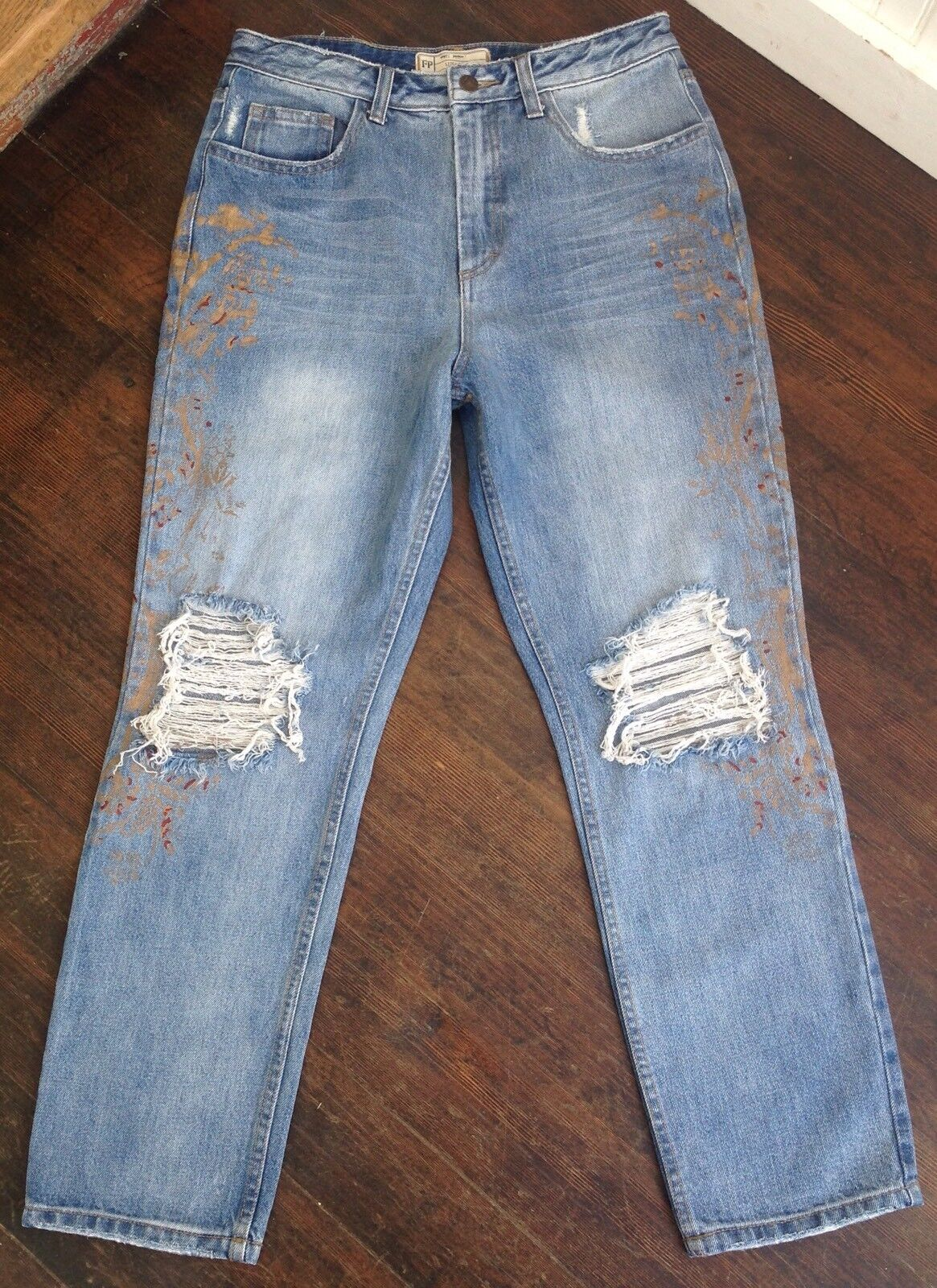 Free People bluee Distress gold Paint Stencil & Destroyed High Rise Jean 27 NEW