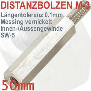 Abstandsbolzen-Messing-vernickelt-Innen-Aussen-M-3-Laenge-50-mm-deutsche-Qualitaet