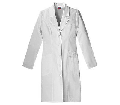 "Scrubs Dickies Jr.'s EDS 37"" Women's Lab Coat White  82401  FREE SHIPPING!"