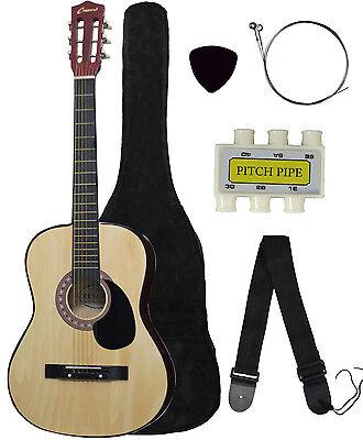 NEW Crescent beginner NATURAL Acoustic Guitar+GIGBAG+STRAP+TUNER+LESSON