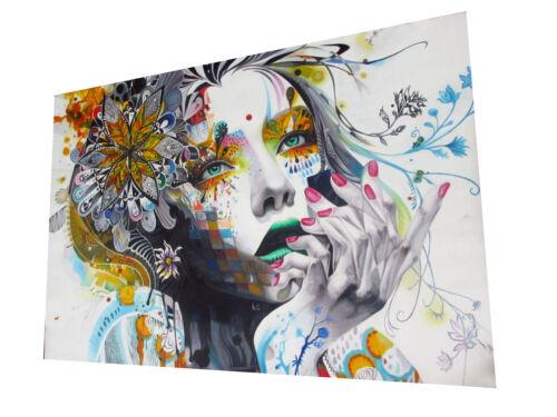 "59/"" x39/""  Urban princess super size canvas street art graffiti print girl face"