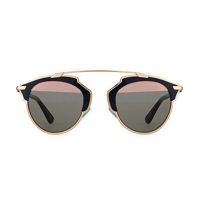 NEW Christian Dior So Real U5WZJ 48 Rose Gold Blue Womens Sunglasses Glasses