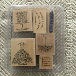 Blooming With Happiness Set of 6 Stampin' Up Wedding Rubber Stamps UNUSED 2006
