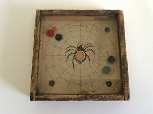 1889 Antique dexterity game THE SPIDER AND THE FLY puzzle dovetail WOOD FRAME