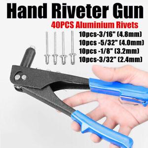 Manual-Pulling-Rivet-Gun-Blind-Rivet-Hand-Tool-For-Metal-Woodworking-w-40-Rivet