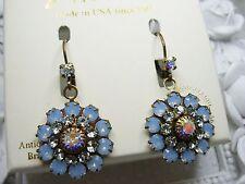 NEW Liz Palacios Air Blue Opal & Lt Azore colors Swarovski elements earrings