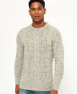 New Mens Superdry Jacob Heritage Crew Jumper Oatmeal Twist