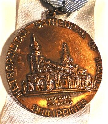 2 PHILIPPINES Medals MANILA CATHEDRAL 1958 Rededicated Cu 43mm Ribbon PDD-USA!