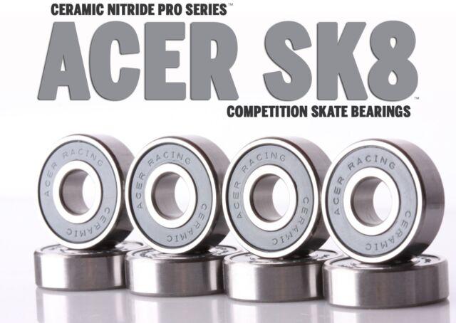 608 Ceramic Skate Bearings 8 piece 8x22x7mm Si3N4  by ACER Racing
