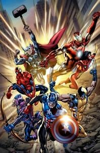 Marvel-The-Avengers-Point-One-Comic-Book-Cover-Fine-Art-Canvas-Signed-Stan-Lee