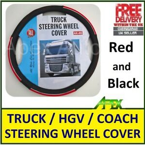 CUSTOM-fit-for-HGV-Bus-Truck-Steering-Wheel-Cover-Medium-44-46cm-RED-and-BLACK