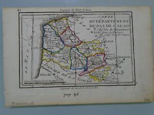 Edme Mentelle - Carte Departement Pas De Calais -vers 1790 Calais Atlas Gravure