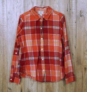 Camisa-de-franela-para-mujer-Vintage-LUCKY-BRAND-Talla-L-Naranja-Manga-Larga-100-algodon