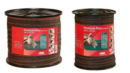 pour PATURAGES / Prés Premium Plus Marron / orange 200m bande élastique clôture