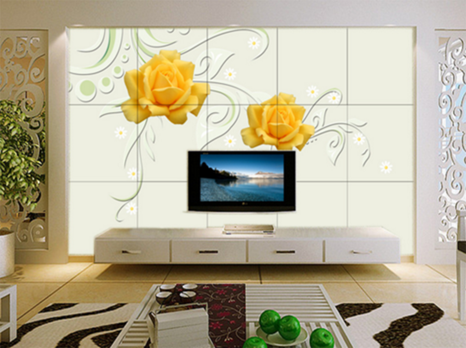 3D Two Flowers Gelb Paper Wall Print Wall Decal Wall Deco Indoor Murals